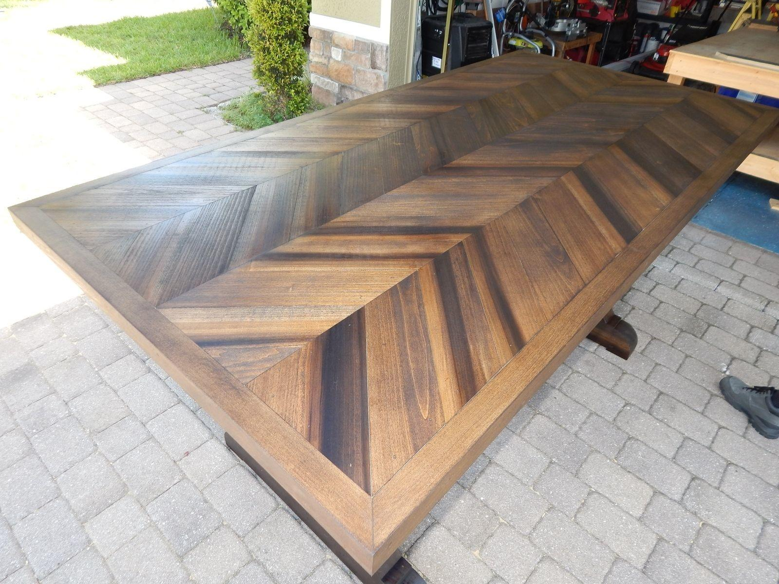 Hand Made Chevron Style Trestle Leg Wood Dining Table