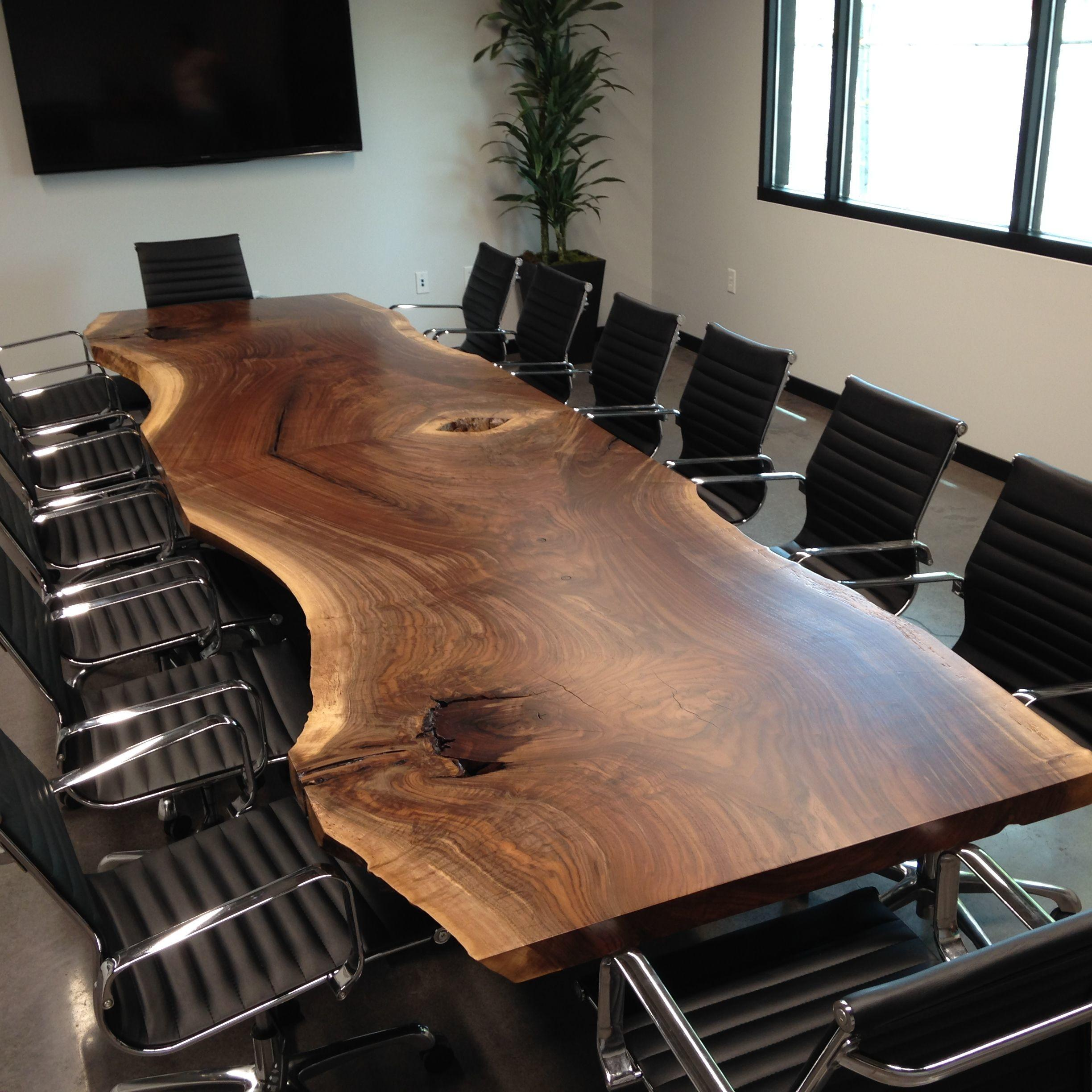 Hand Made Custom Live Edge Black Walnut Conference Table