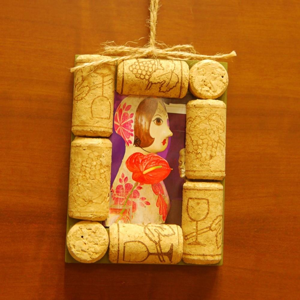 Hand Made Diy Wine Cork Ornament Mini Memory Frame