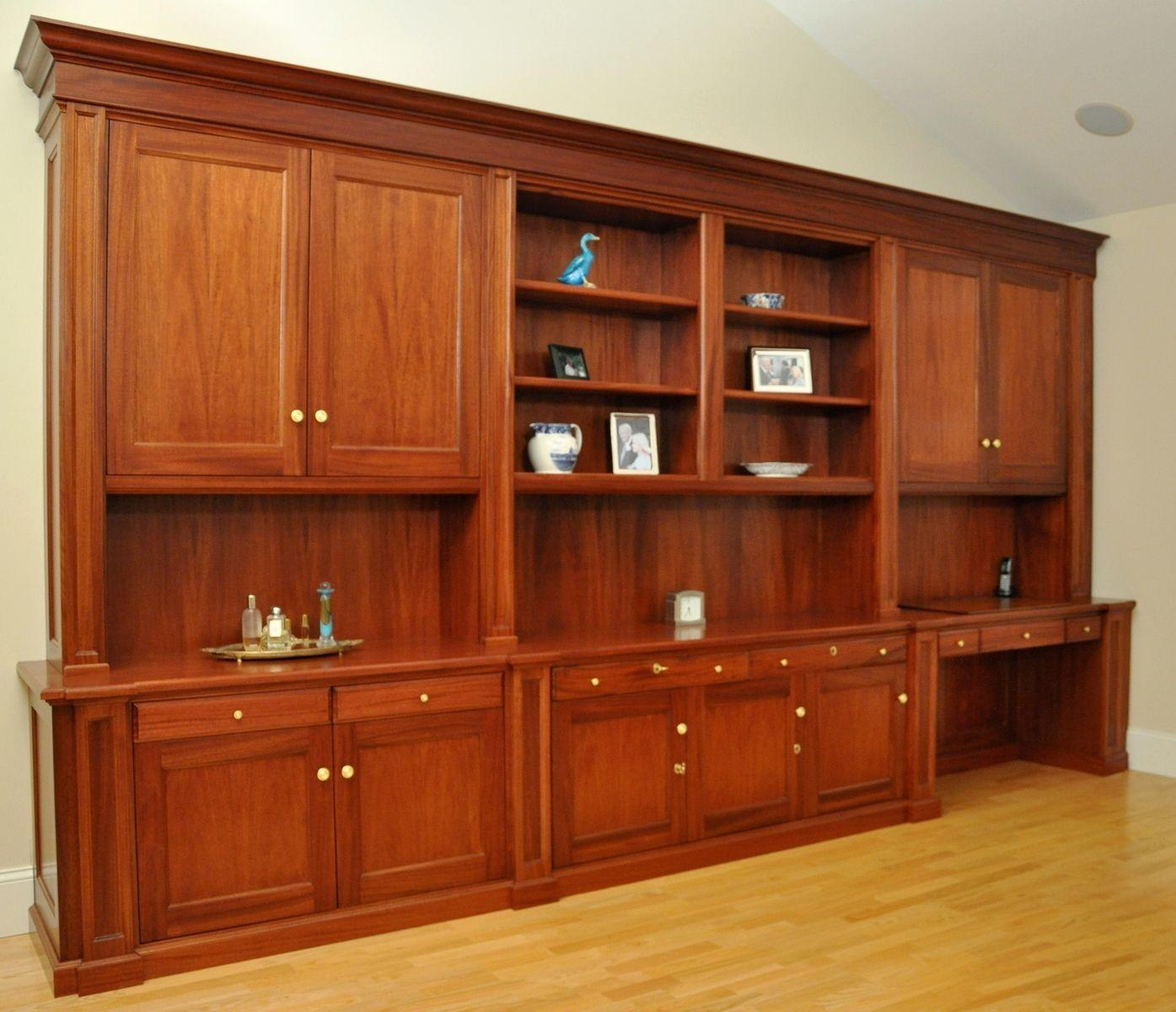 Hand Made Traditional Mahogany Wall Unit Home Office Desk