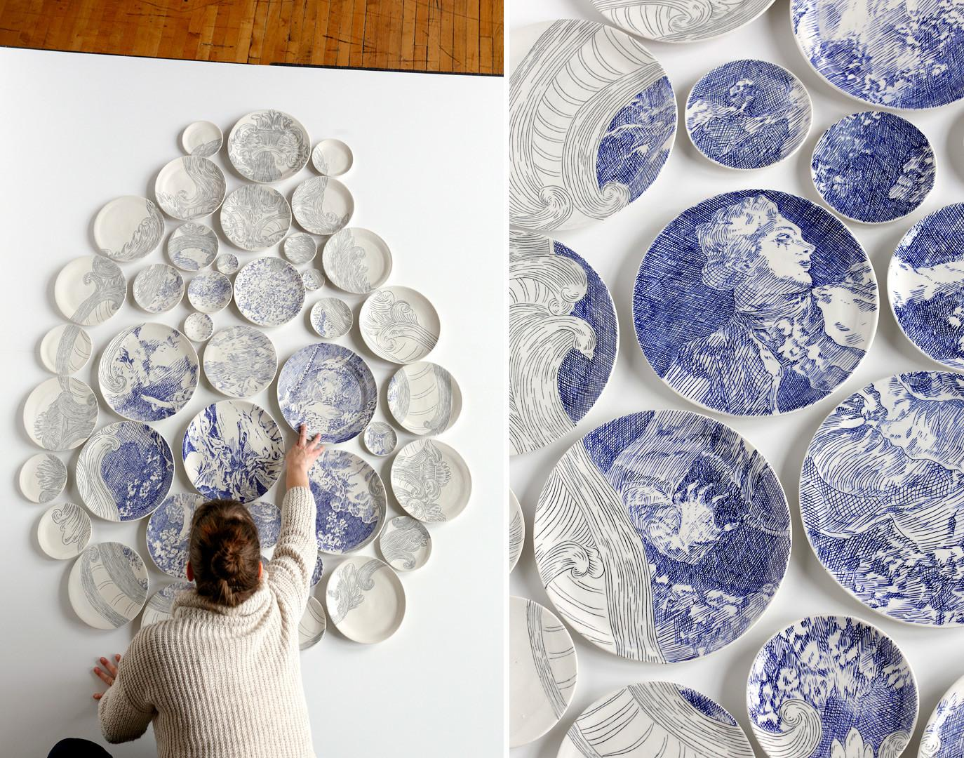 Hand Painted Ceramic Plate Installations Molly Hatch