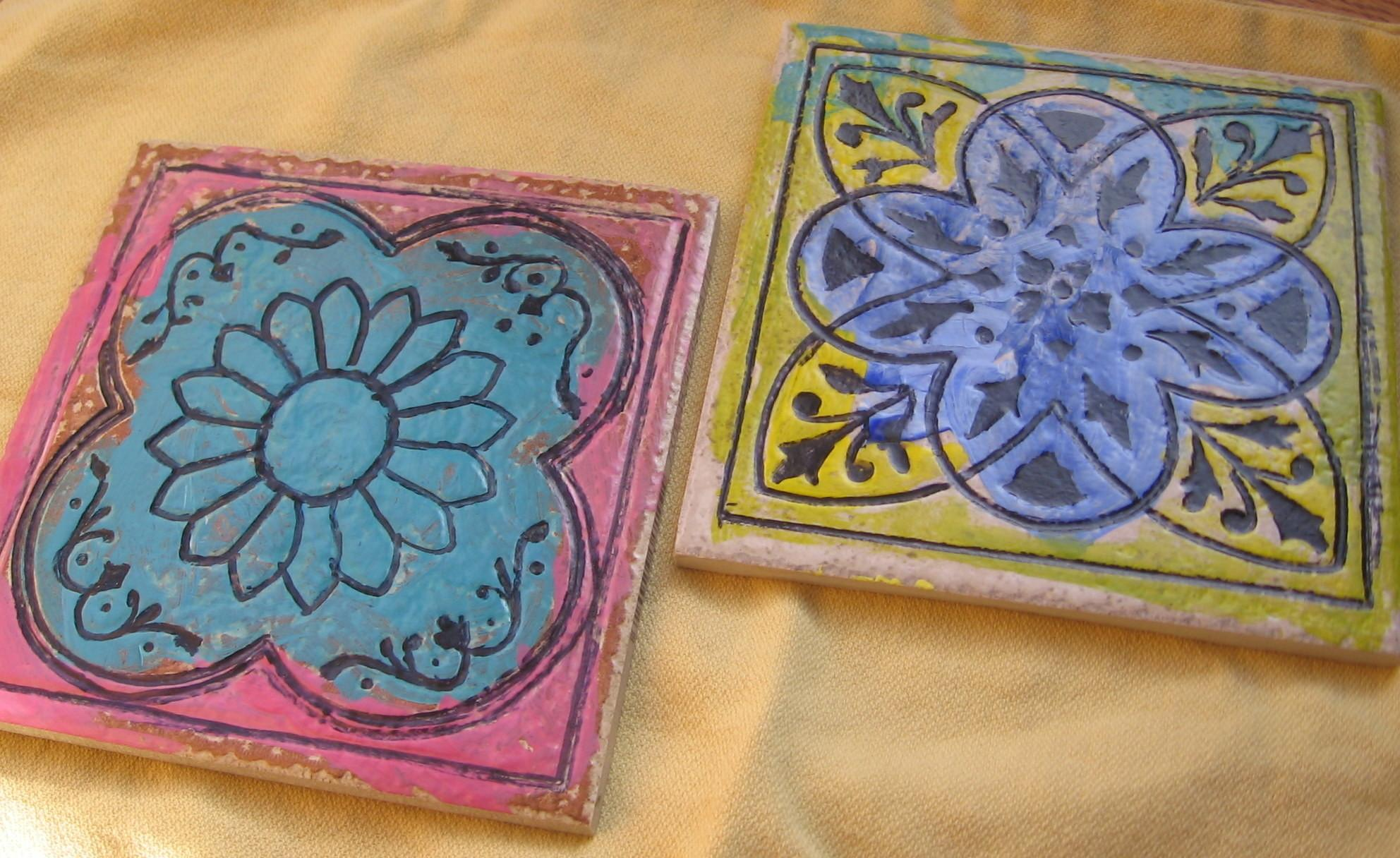 Hand Painted Ceramic Tile Trivets Reluctant Hippie
