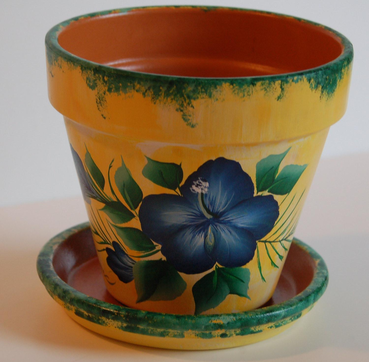 Hand Painted Clay Flower Pot
