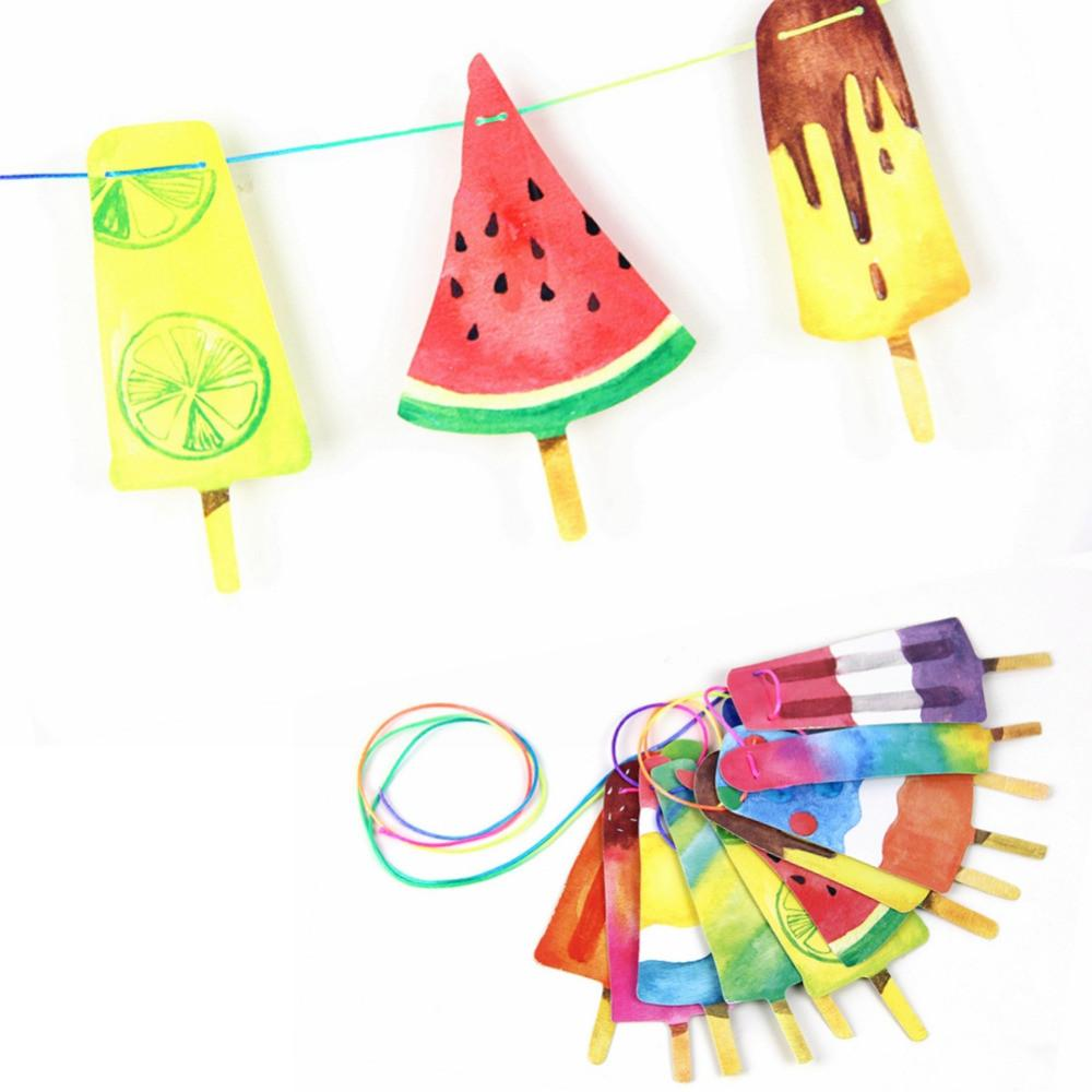 Hand Painted Colorful Popsicle Banner Back School