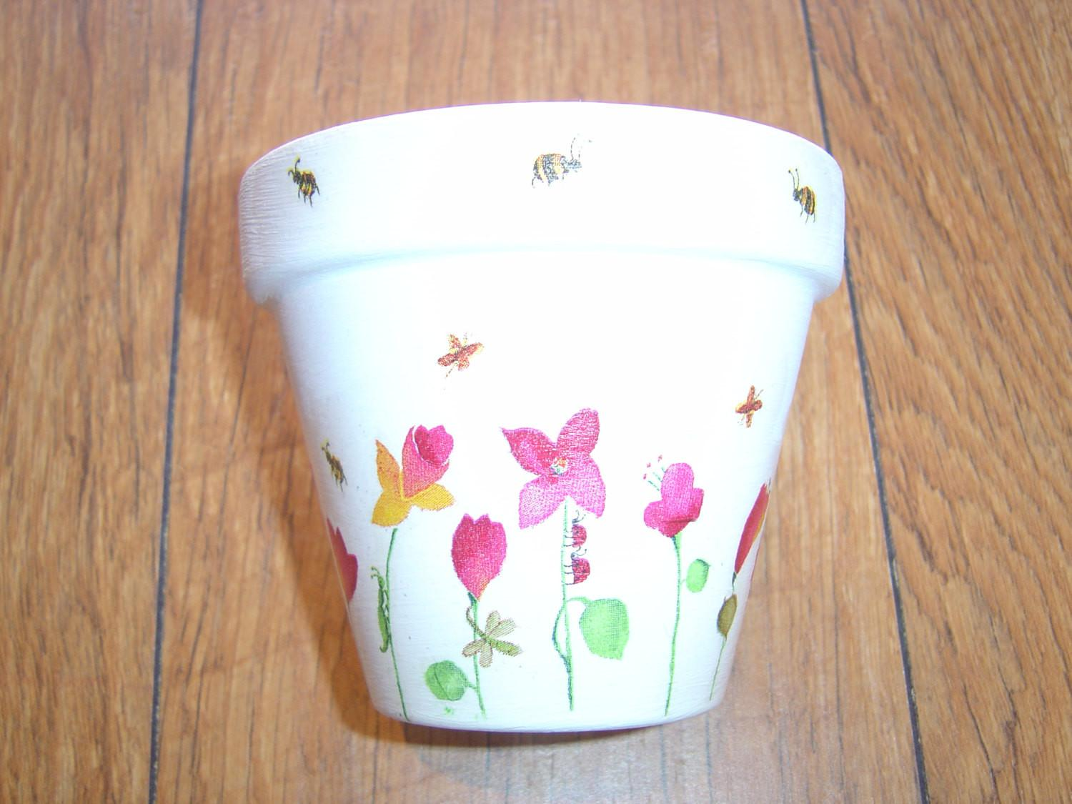 Hand Painted Decoupaged Decorative Flower Pots Spring