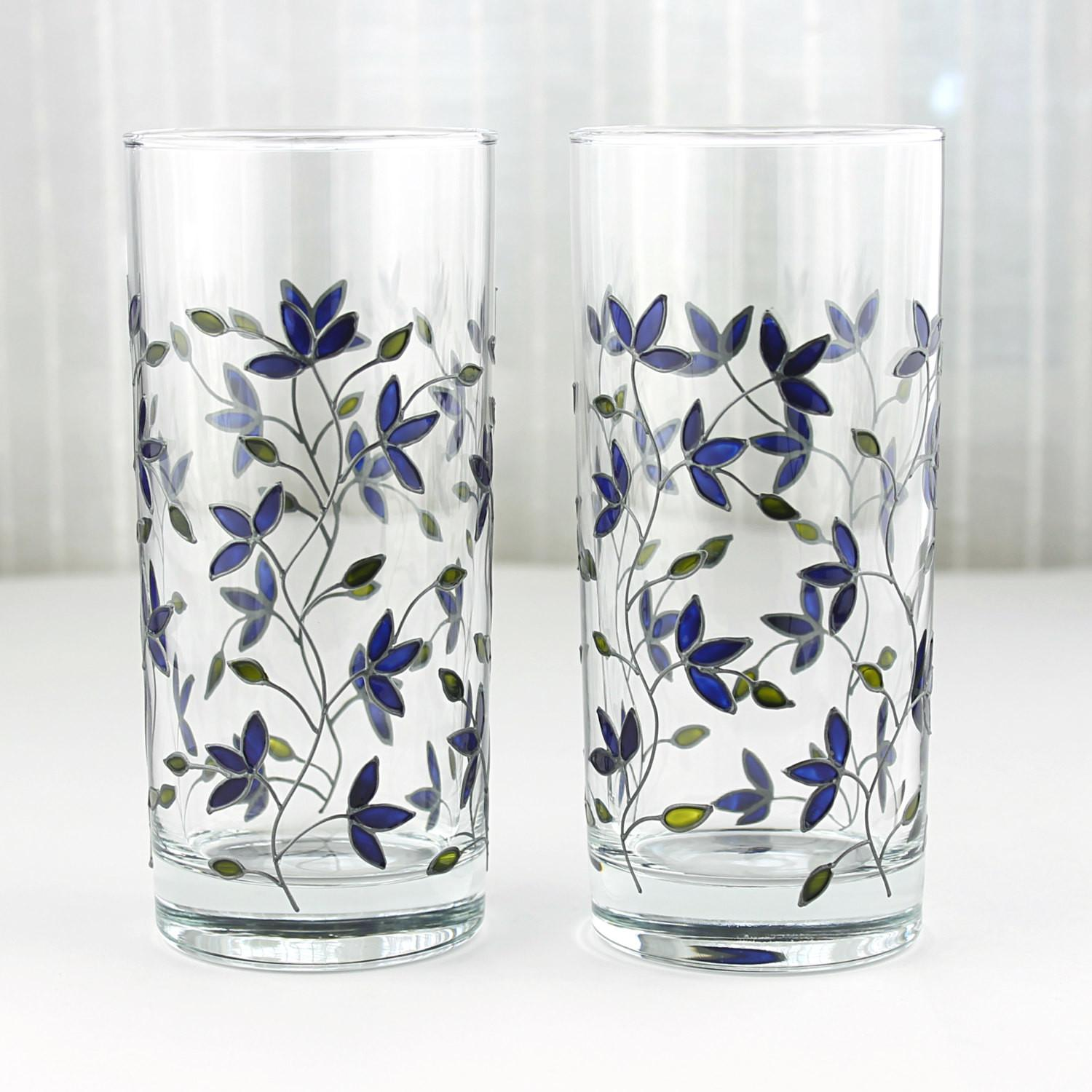 Hand Painted Glasses Blue Tulips Design Floral Tumblers