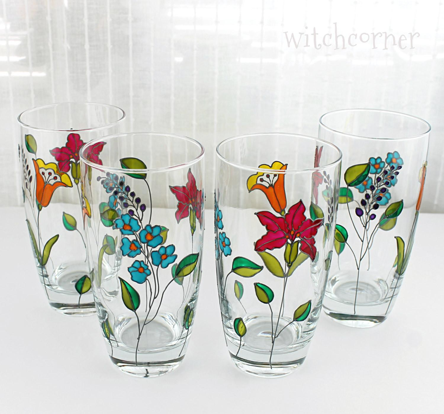 Hand Painted Glasses Tumblers Water
