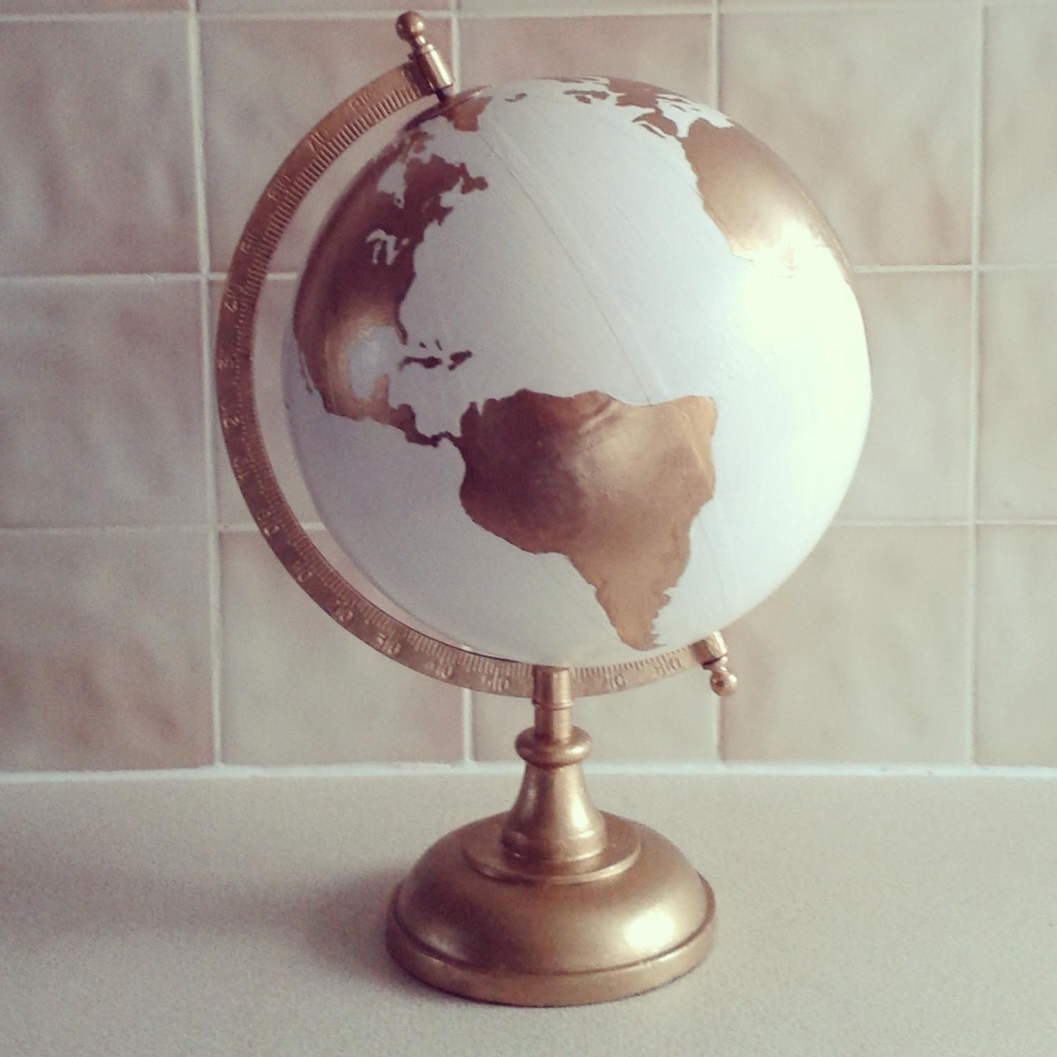 Hand Painted Globe Wedding Guest Book