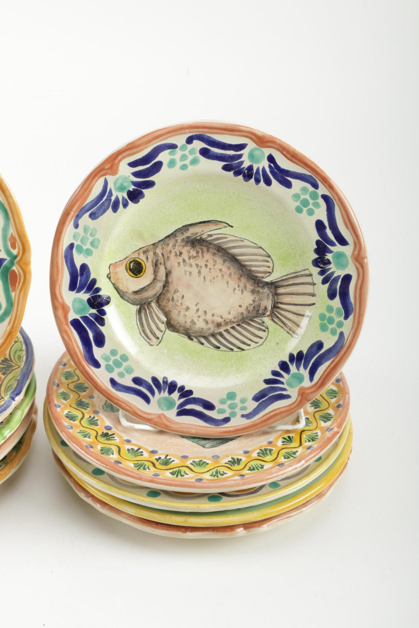 Hand Painted Mexican Ceramic Plates Ebth