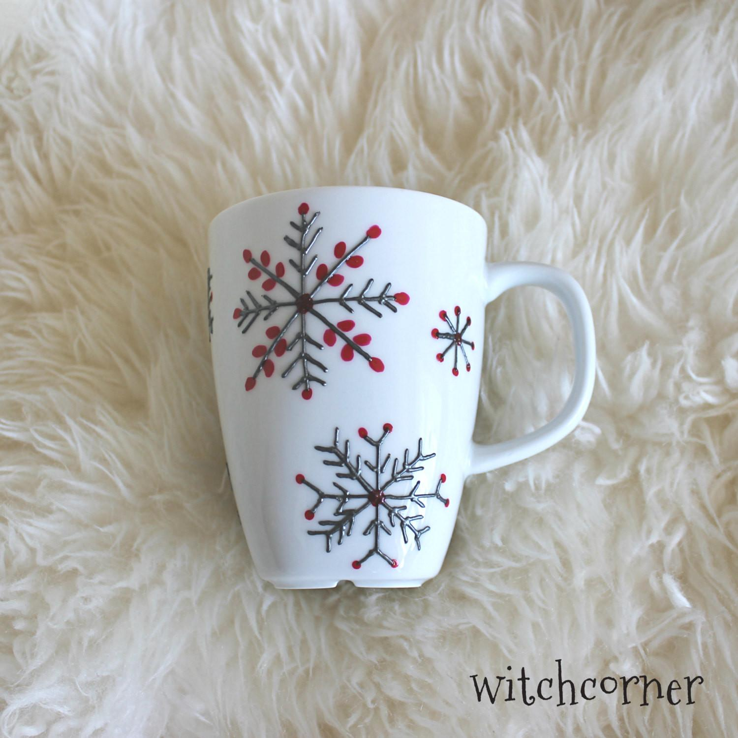Hand Painted Porcelain Mug Snowflake Design Tea