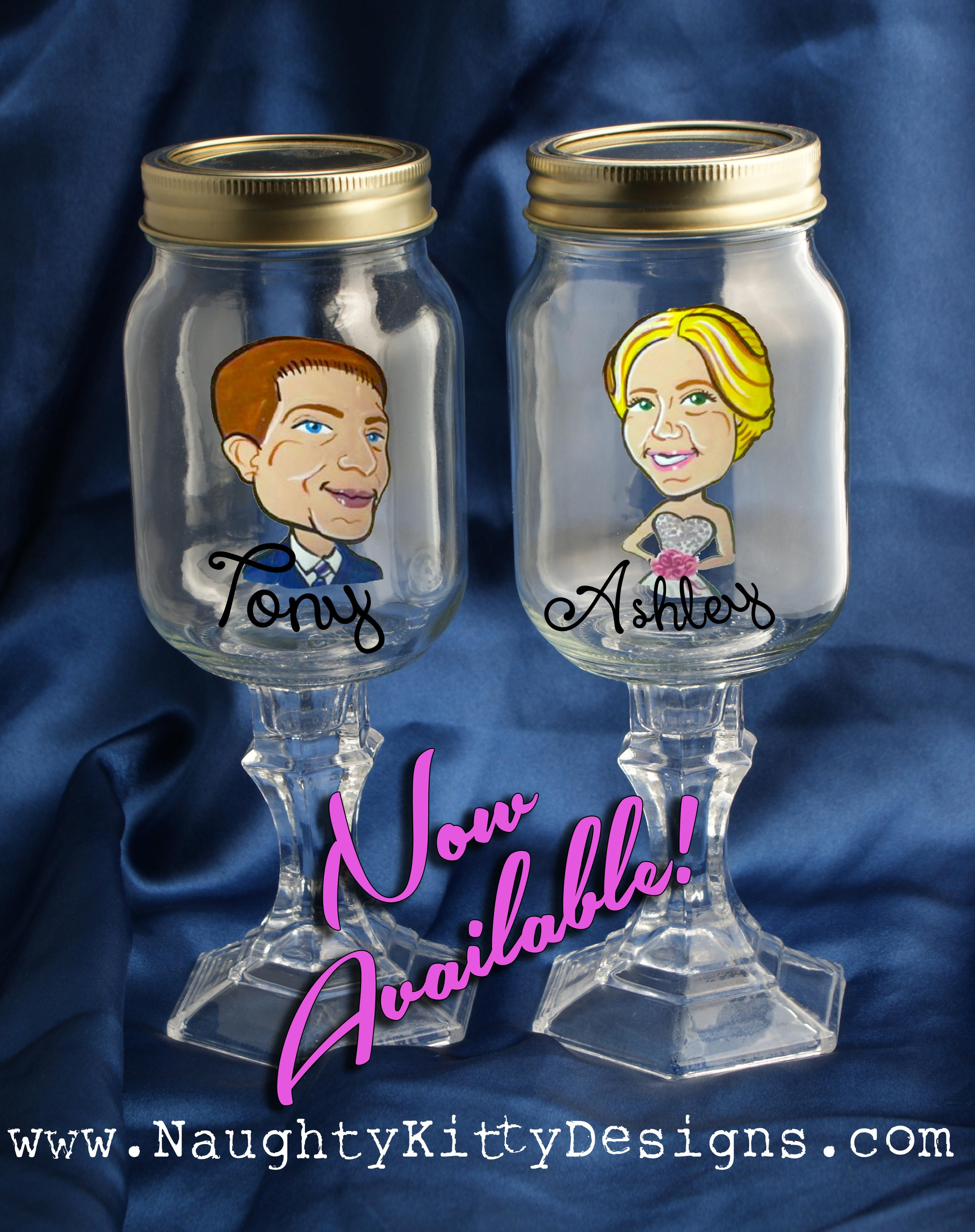Hand Painted Red Neck Wine Glass Wedding Party Mason