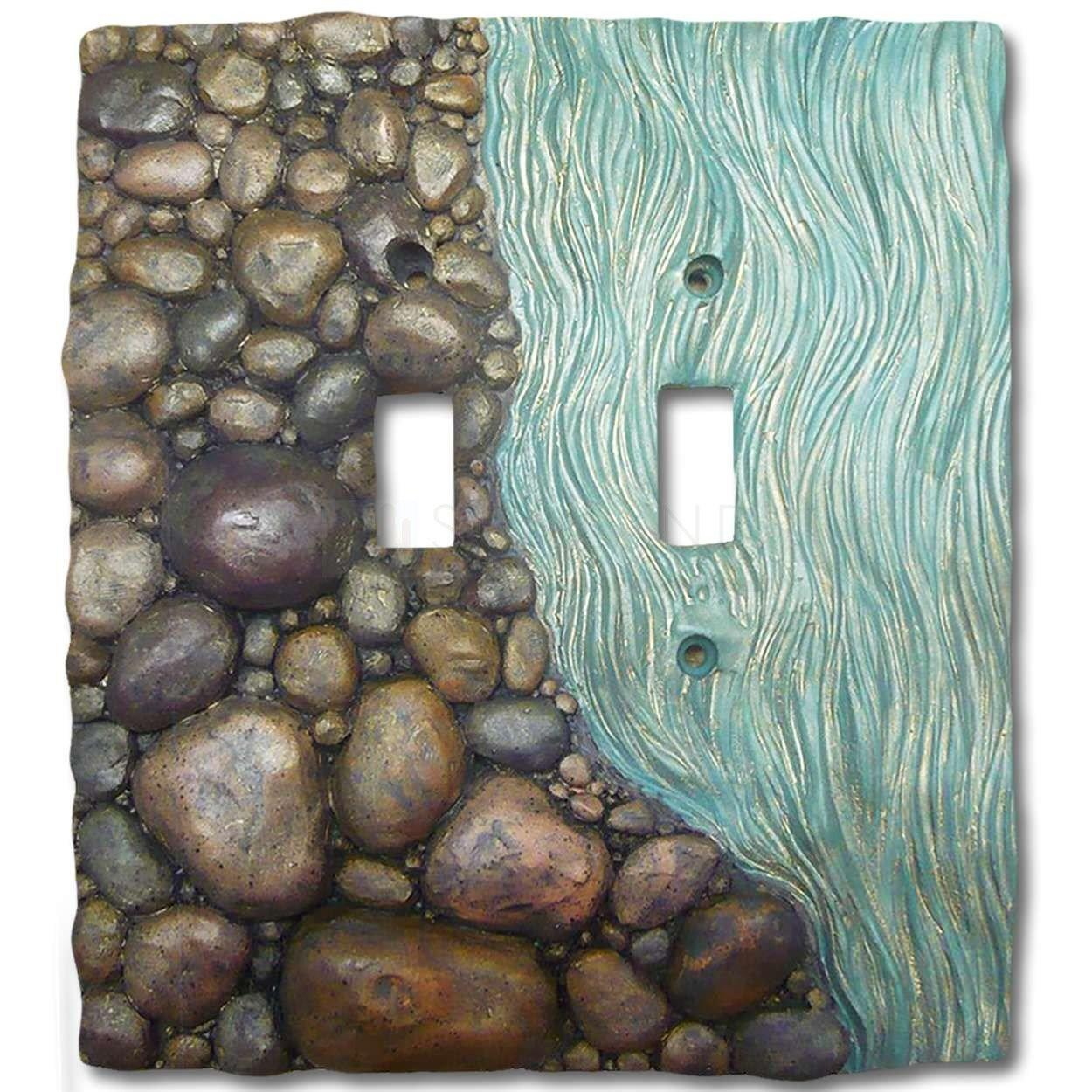 Hand Painted Switch Plate River Rocks Double