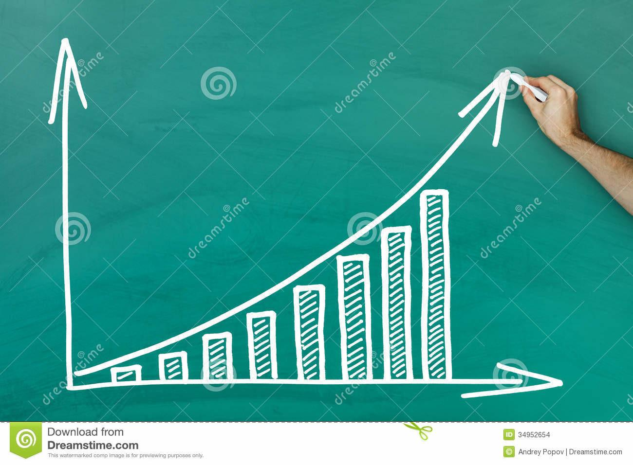 Hand Writing Profit Growth Chart Blackboard Stock