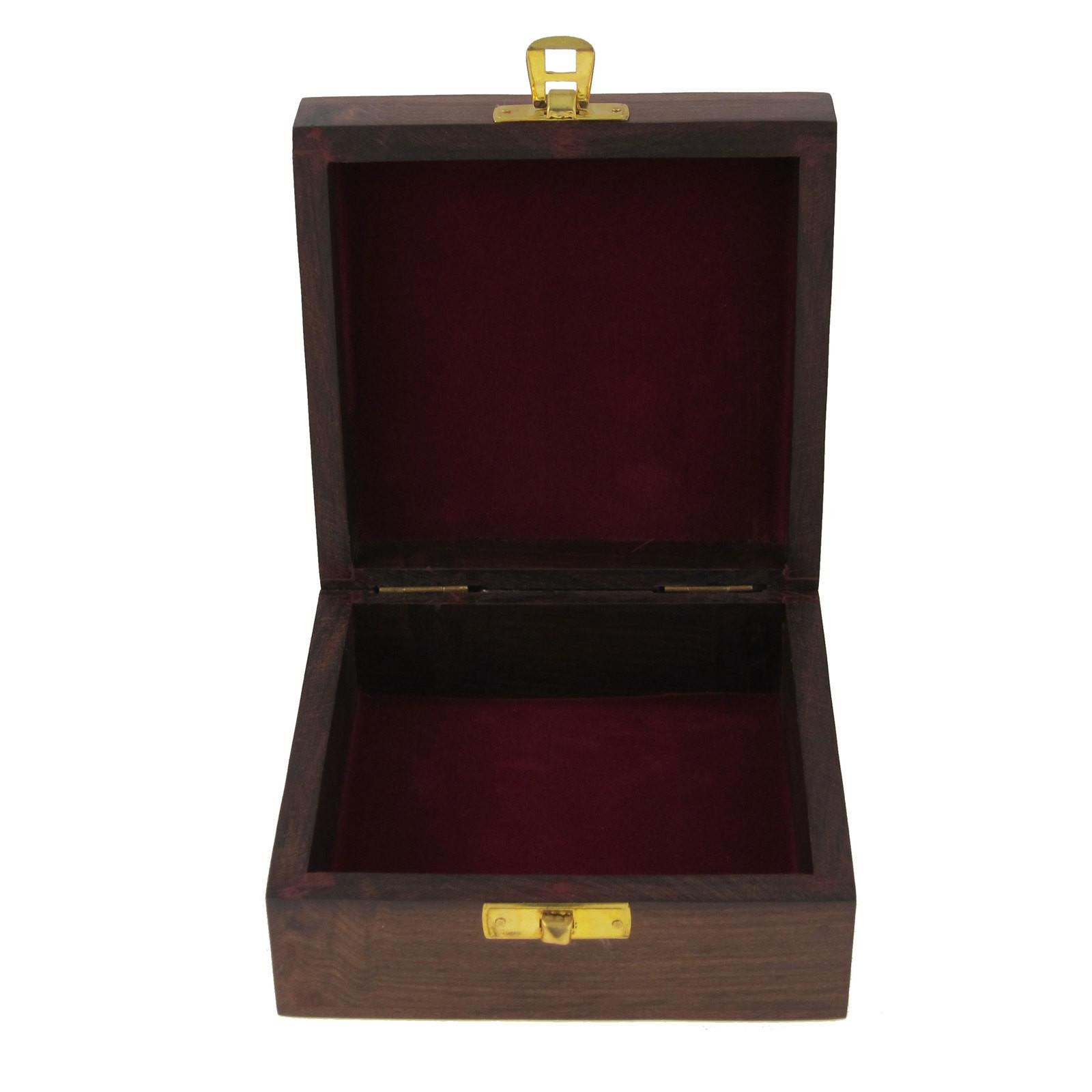 Handcrafted Jewelry Box Wood Storage Carved Sister