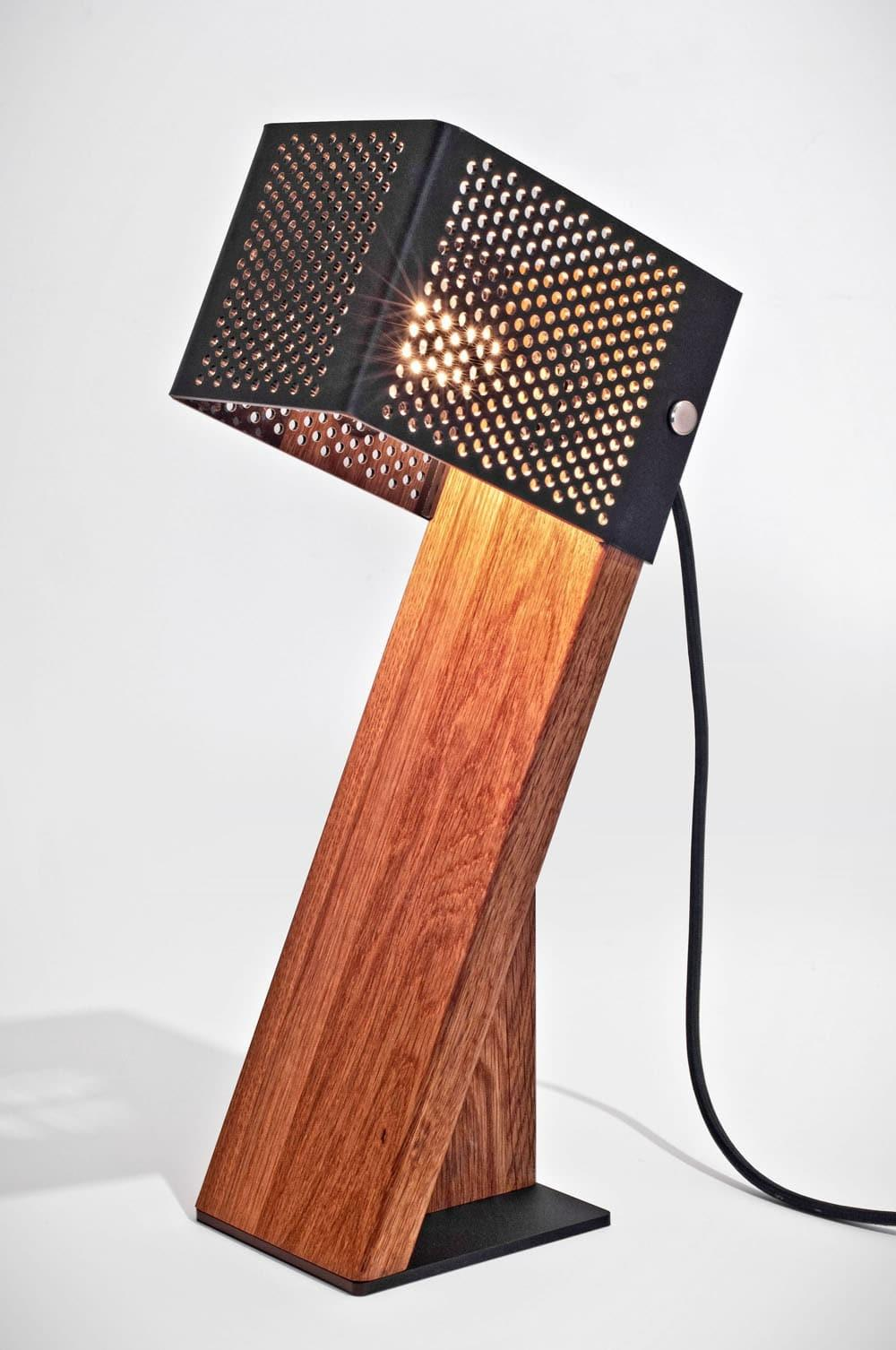 Handcrafted Oblic Wood Table Lamp Lights