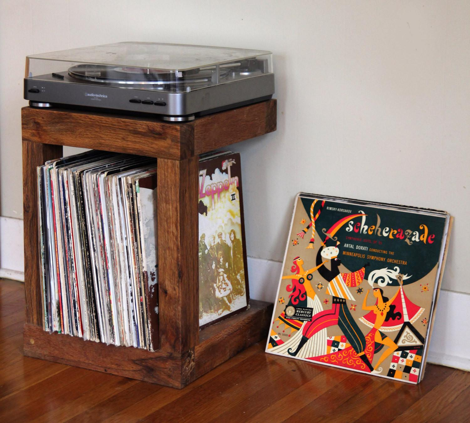 Handcrafted Record Player Stand Made Reclaimed Wood