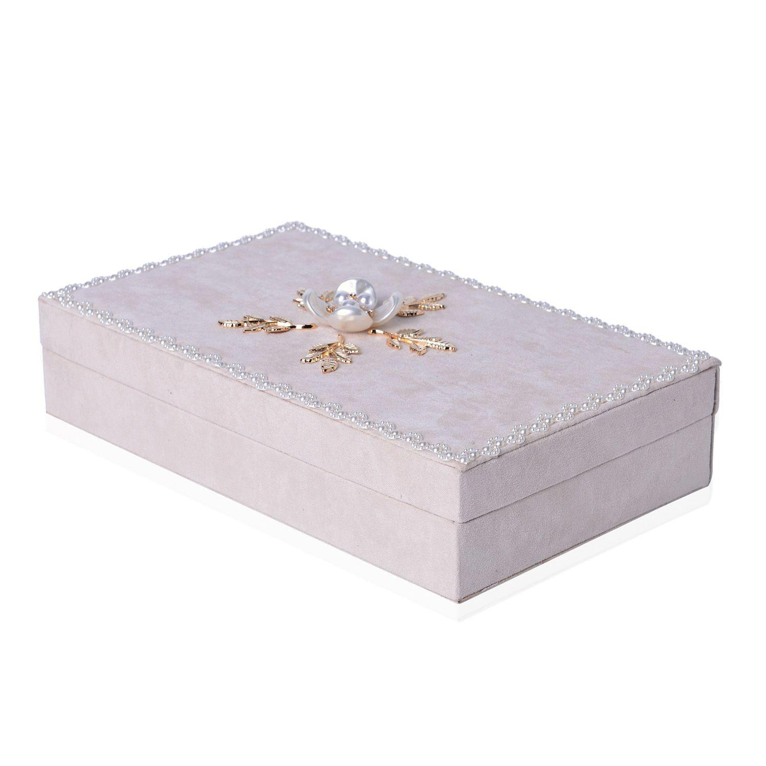 Handcrafted White Velvet Classic Flower Jewelry Box