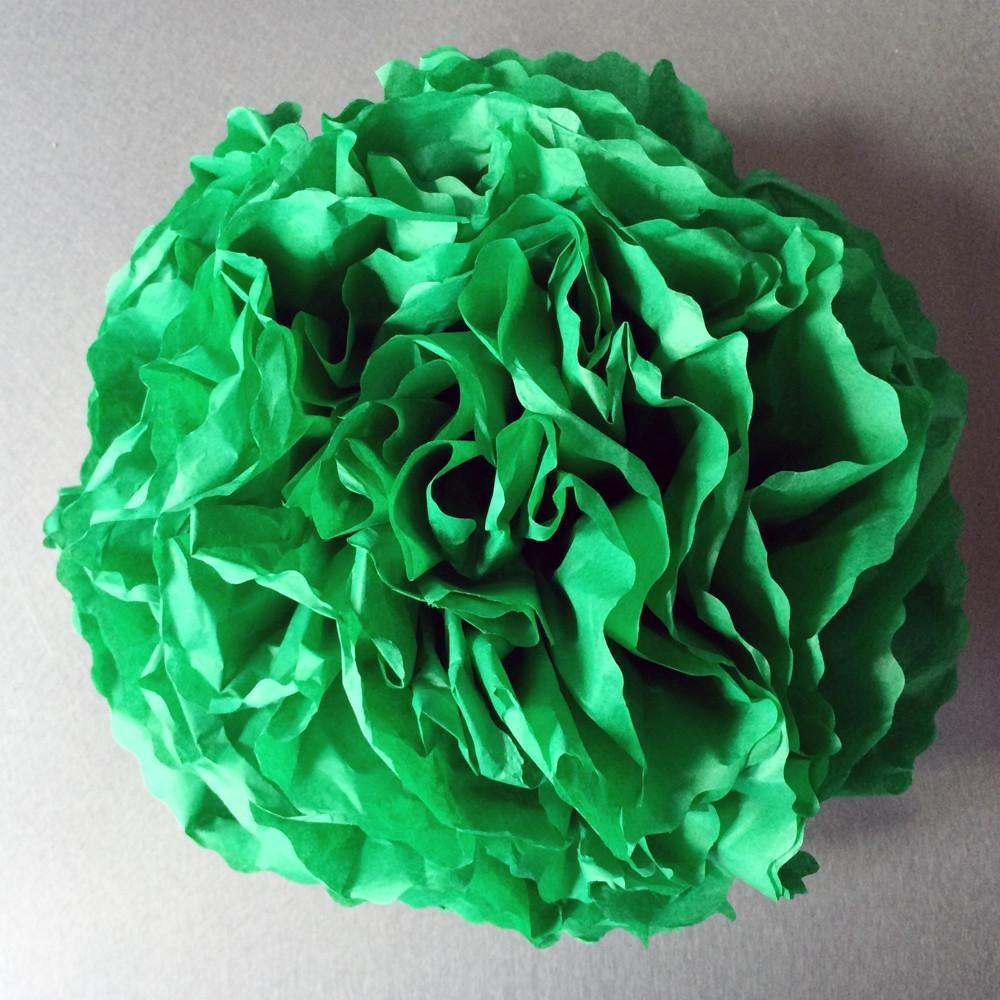 Handcut Paper Tissue Pom Decorations Emerald Green