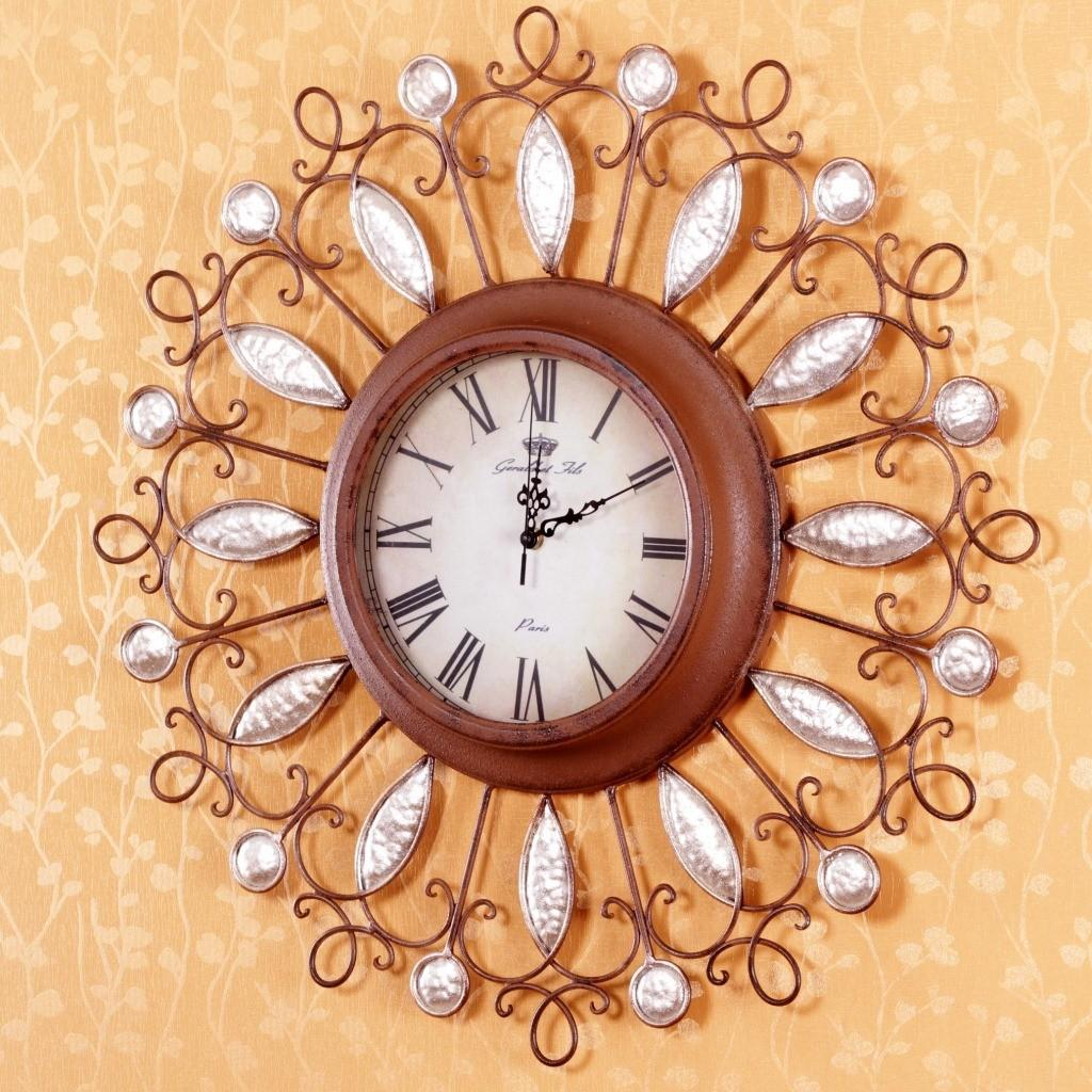 Handmade Bell Retro Wrought Iron Vintage Wall Clock