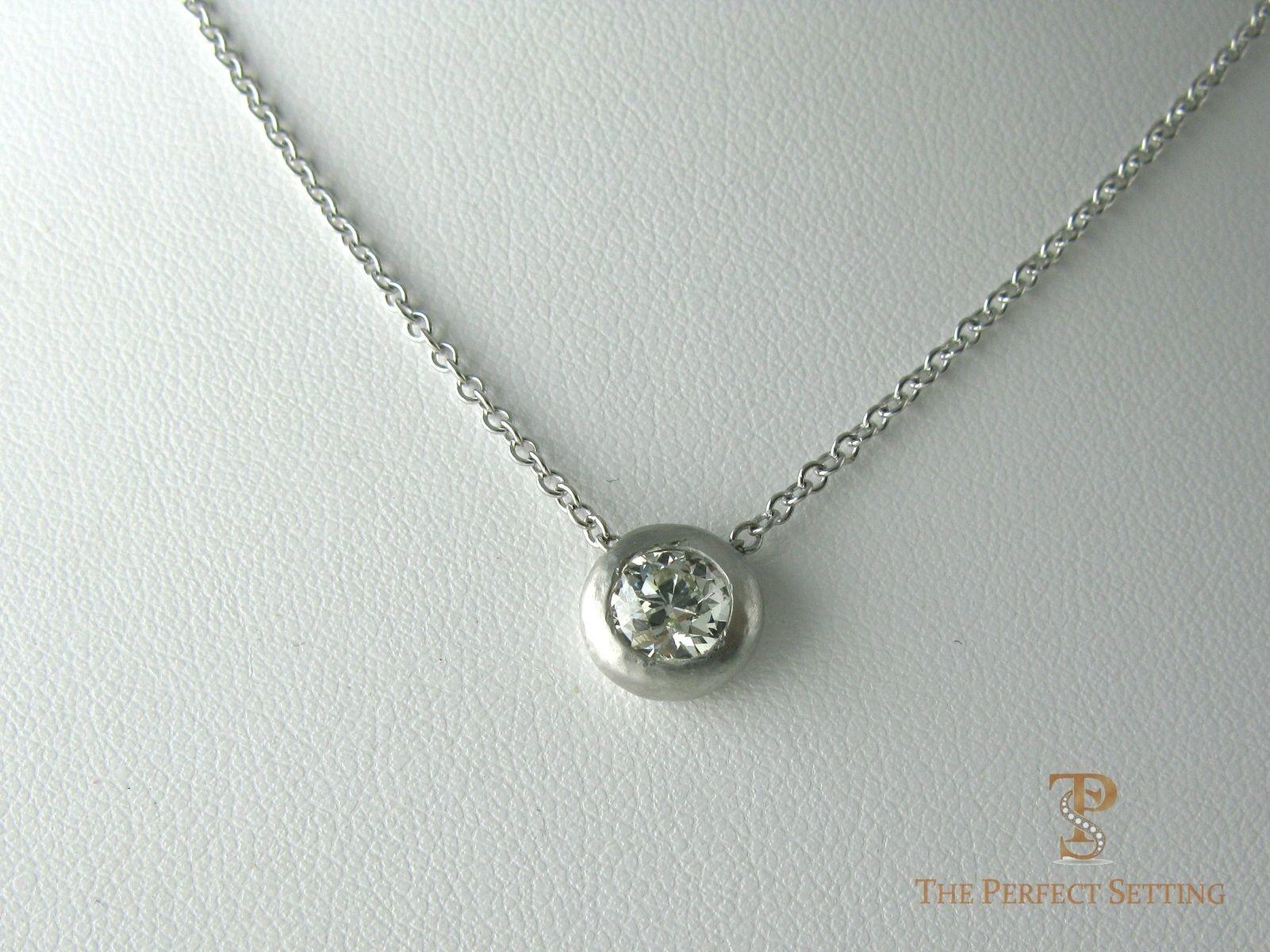 Handmade Heavy Bezel Diamond Solitaire Pendant Necklace