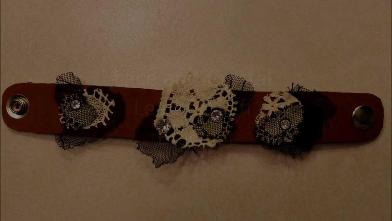 Handmade Lace Crystal Leather Cuff Bracelet Quick