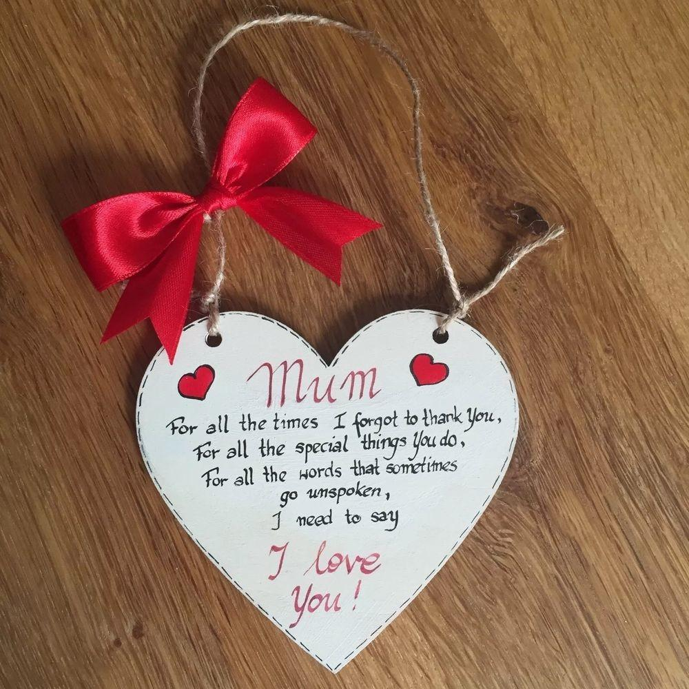 Handmade Mothers Day Birthday Gift Wooden Heart Plaque