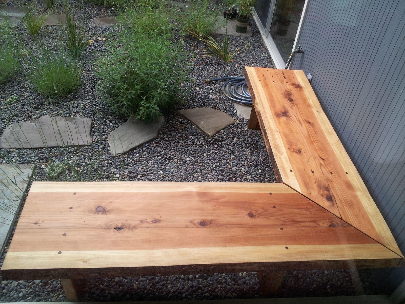 Handmade Outdoor Redwood Slab Corner Benches Alexis