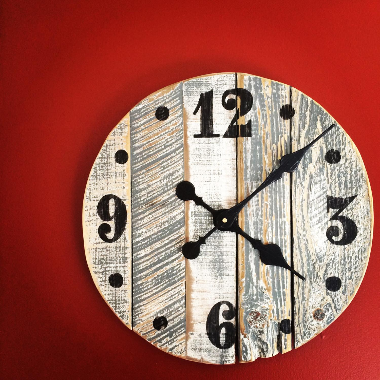 Handmade Pallet Wood Wall Clock Gray White Rustic Finish