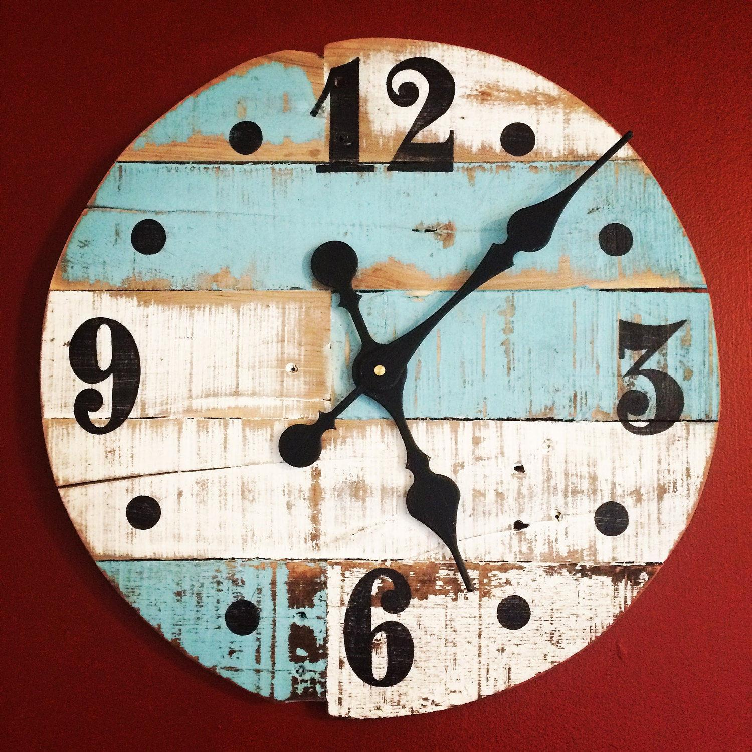 Handmade Pallet Wood Wall Clock White Blue Rustic Finish