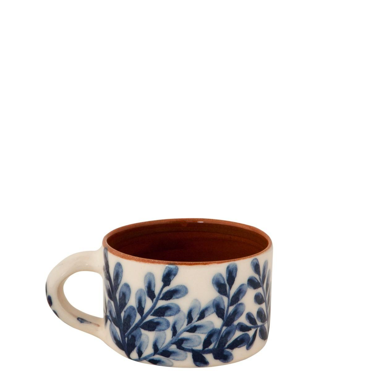 Handmade Pottery Coffee Mugs Blue White Flowers