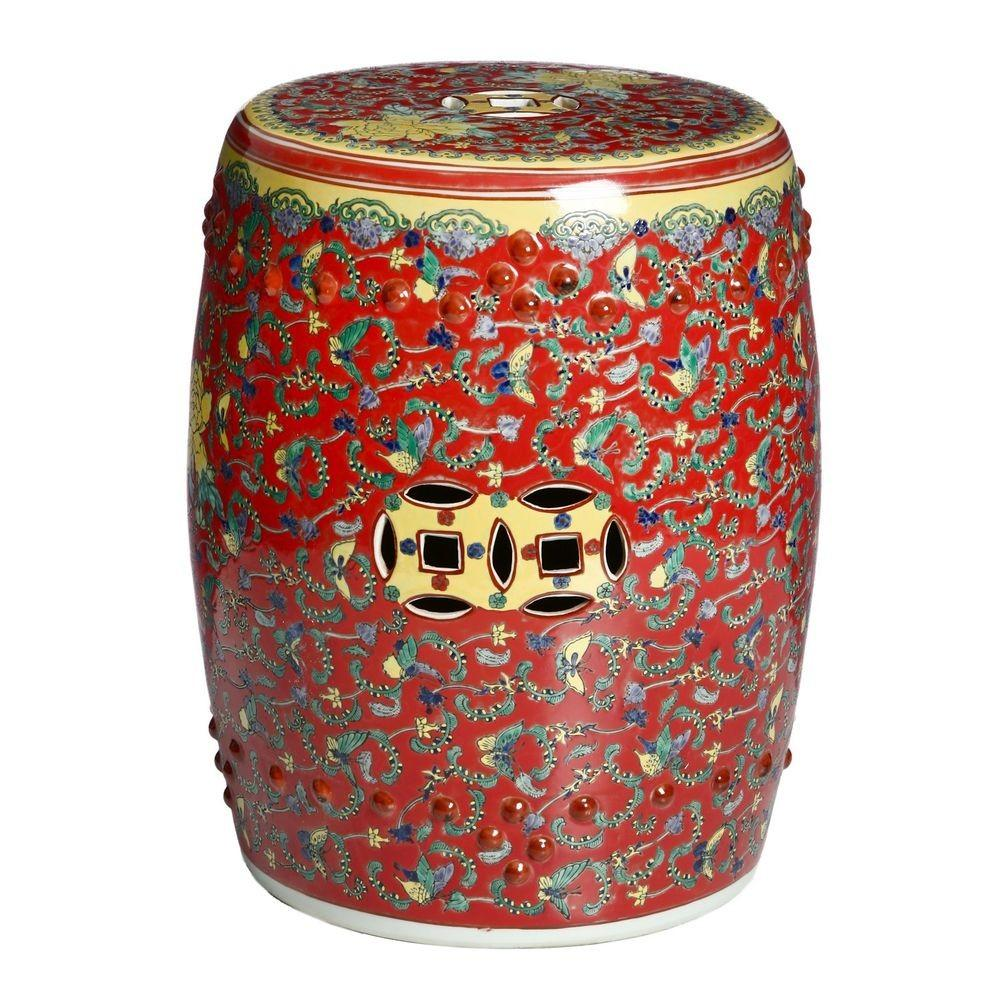 Handmade Rose Red Floral Chinese Porcelain Garden Stool