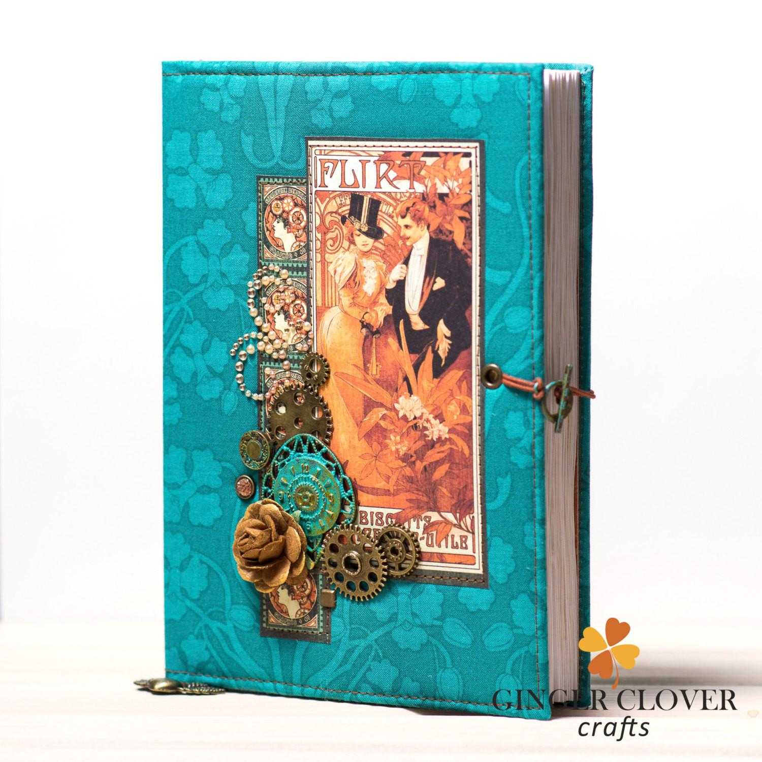 Handmade Steampunk Lined Diary Tea Dyed Paper Custom