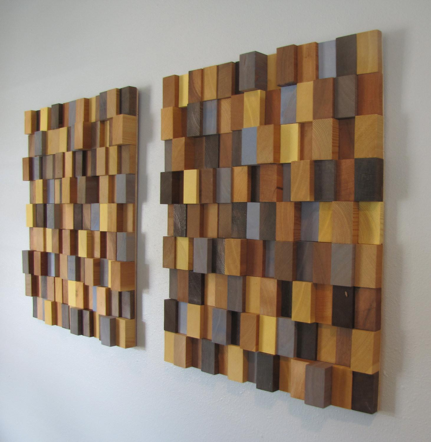 Handmade Wooden Block Modern Wall Art Pair Large