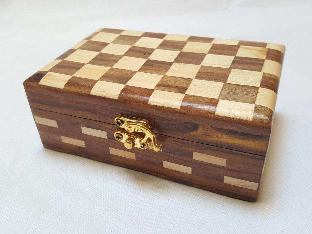 Handmade Wooden Jewellery Box Check Design Inlay