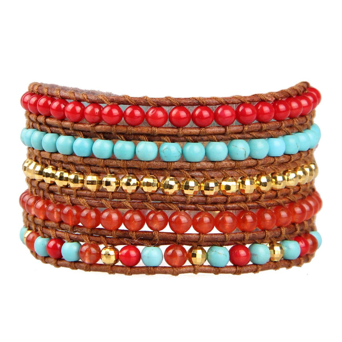 Handmade Wrap Bracelet Turquoise Red Coral Beads