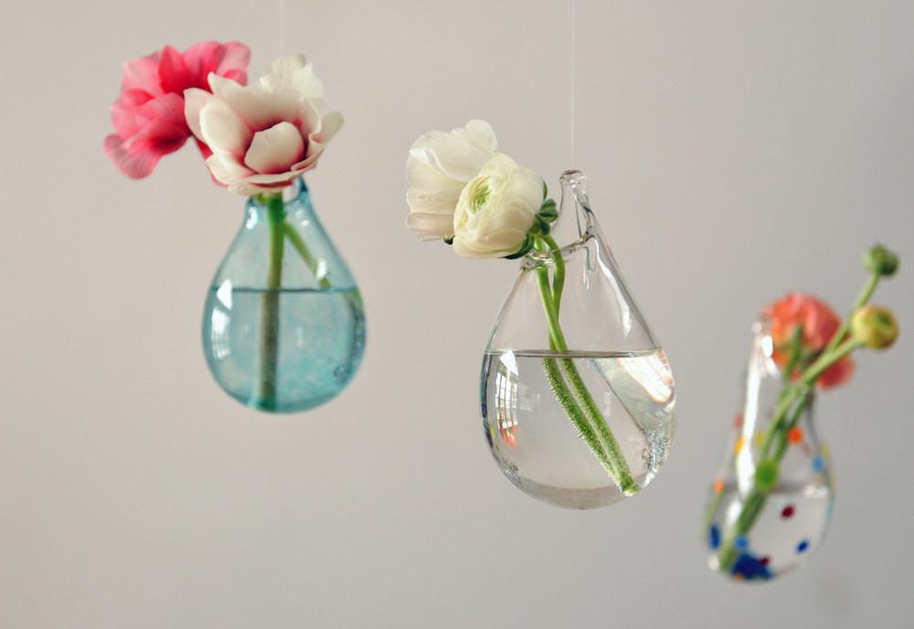 Hanging Air Plant Vase Hand Blown Glass Transparent
