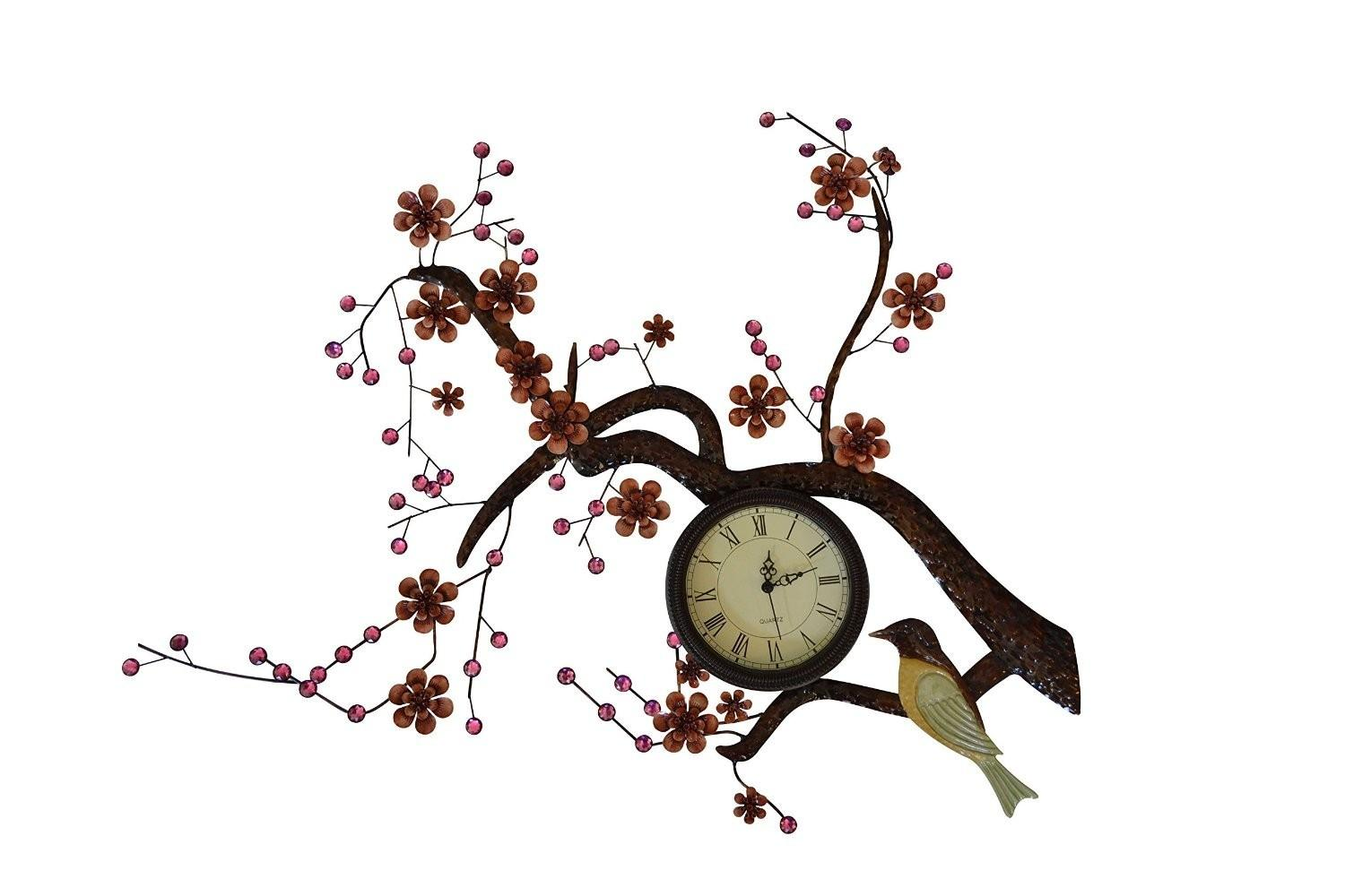 Hanging Branch Bird Decorative Metal Wall Clock