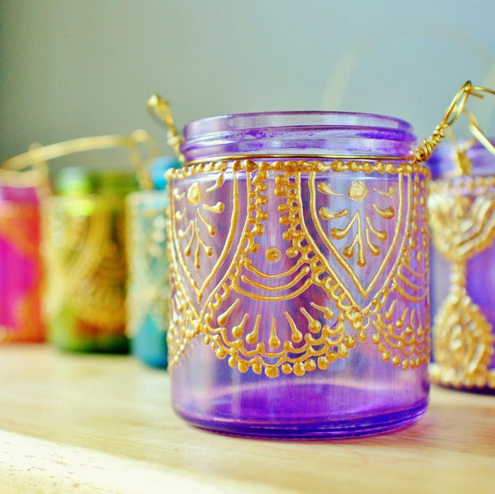 Hanging Candle Holder Inspired Moroccan Lanterns Lavender