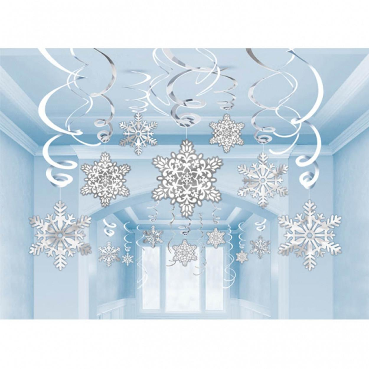 Hanging Christmas Snowflake Foil Swirl Party