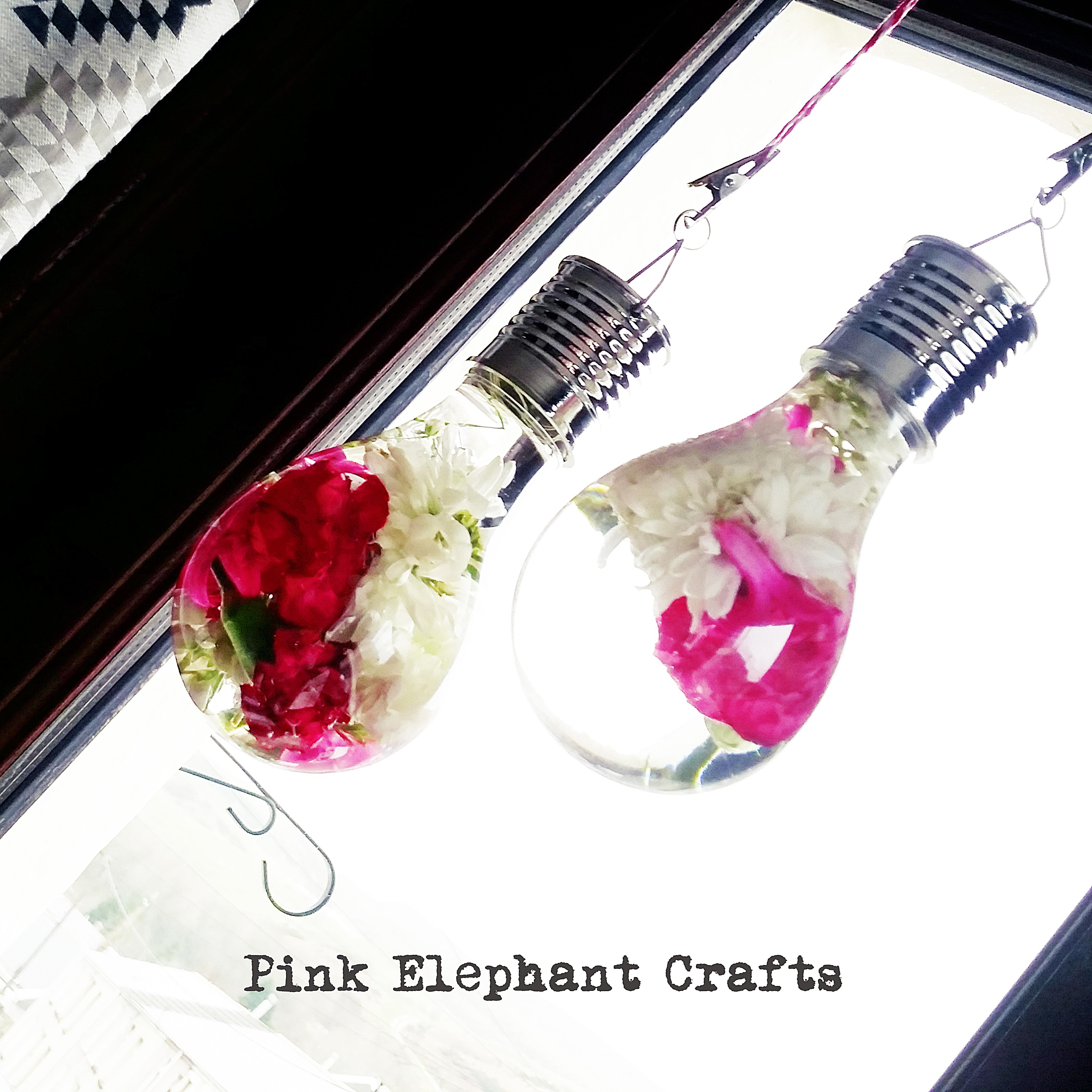 Hanging Light Bulb Flower Vase Pink Elephant Crafts
