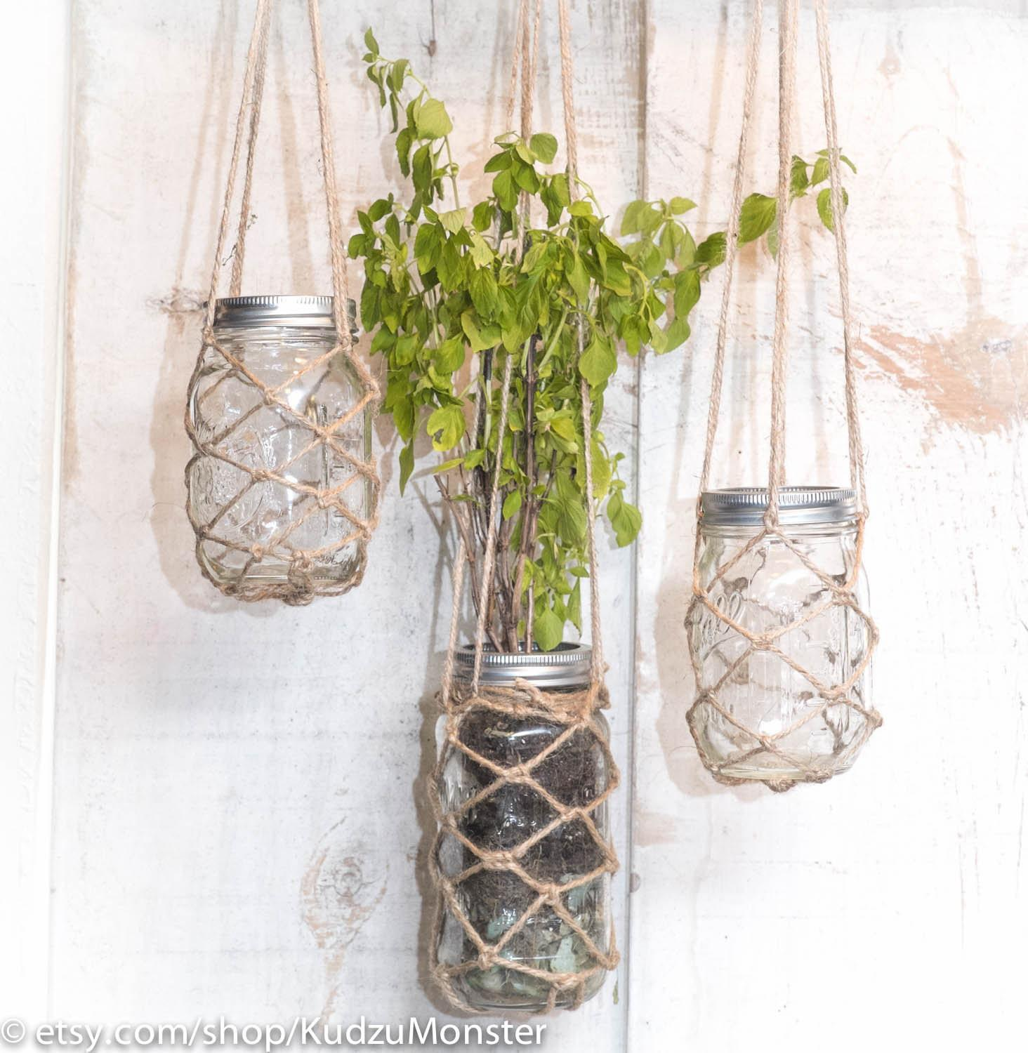 Hanging Mason Jar Planter Container Hand Knotted Twine