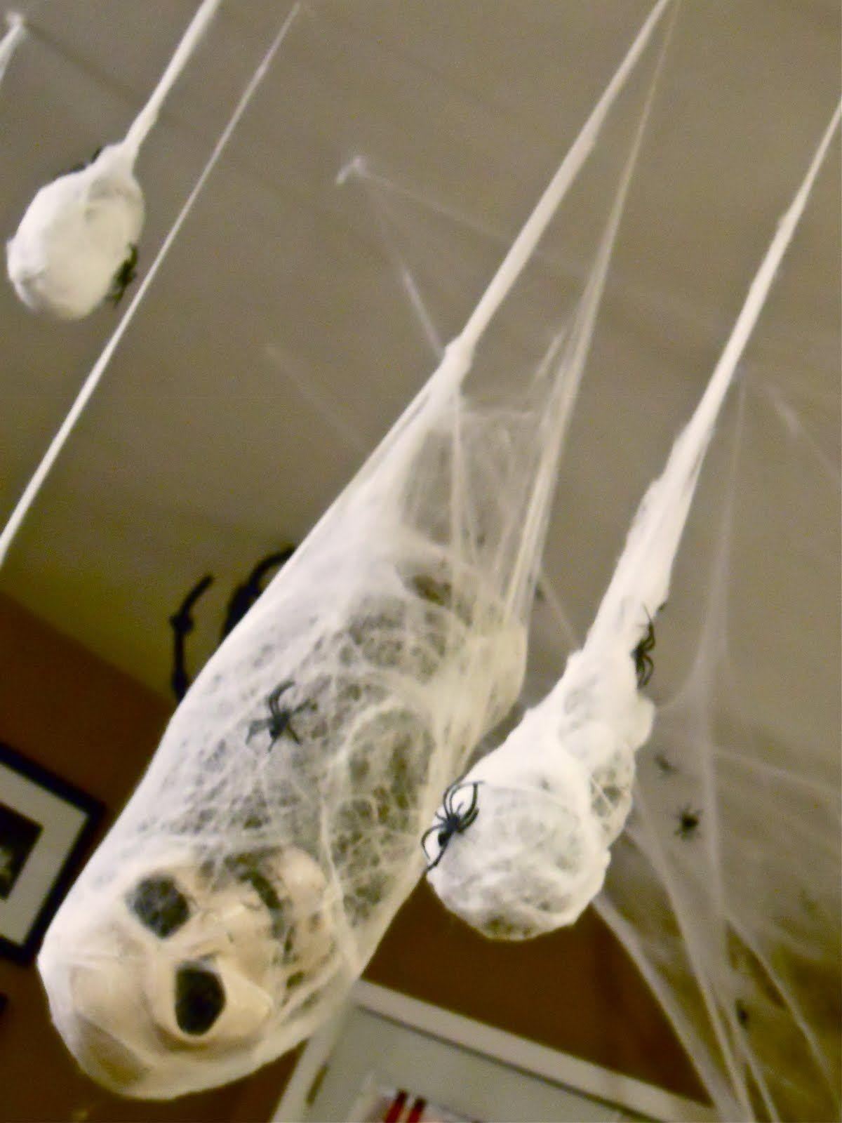 Hanging Spider Web Black Also White Skull