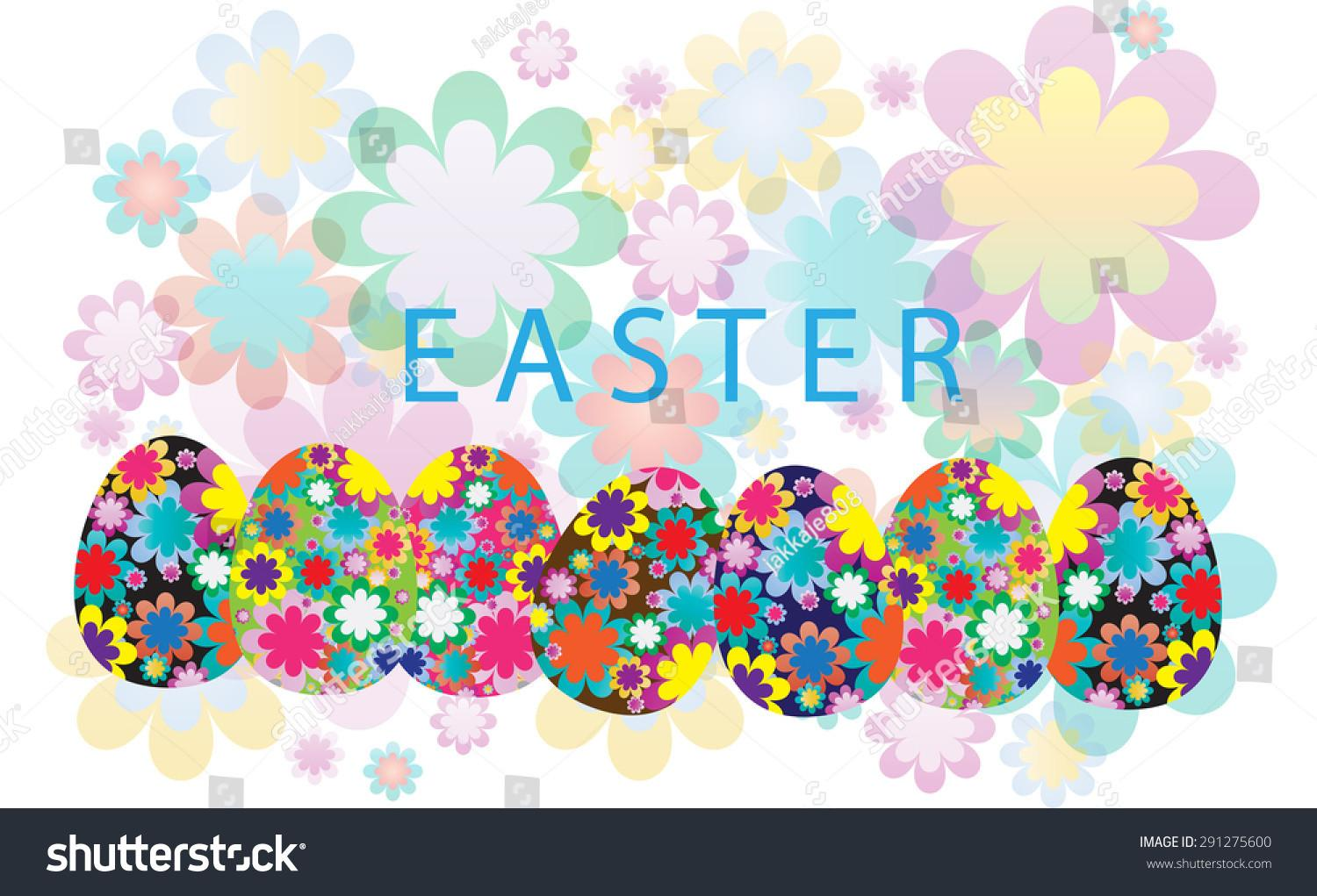 Happy Easter Egg Colorful Flower Graphic Stock