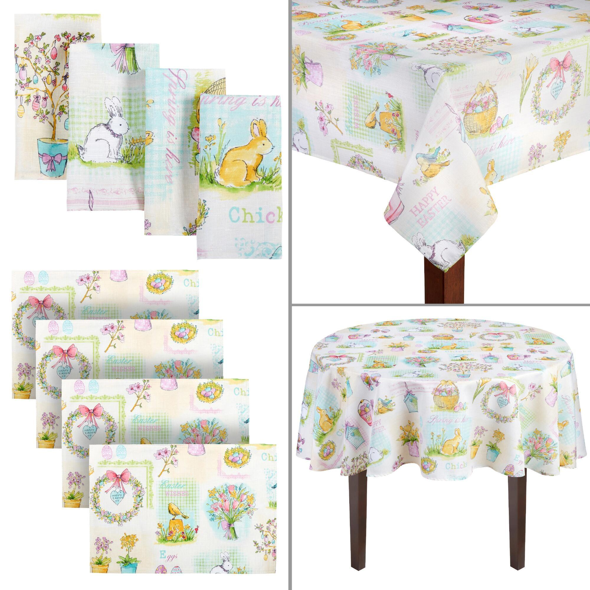 Happy Easter Spring Theme Table Linens Christmas Tree