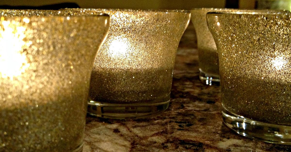 Happy House Home Diy Glitter Candle Holders