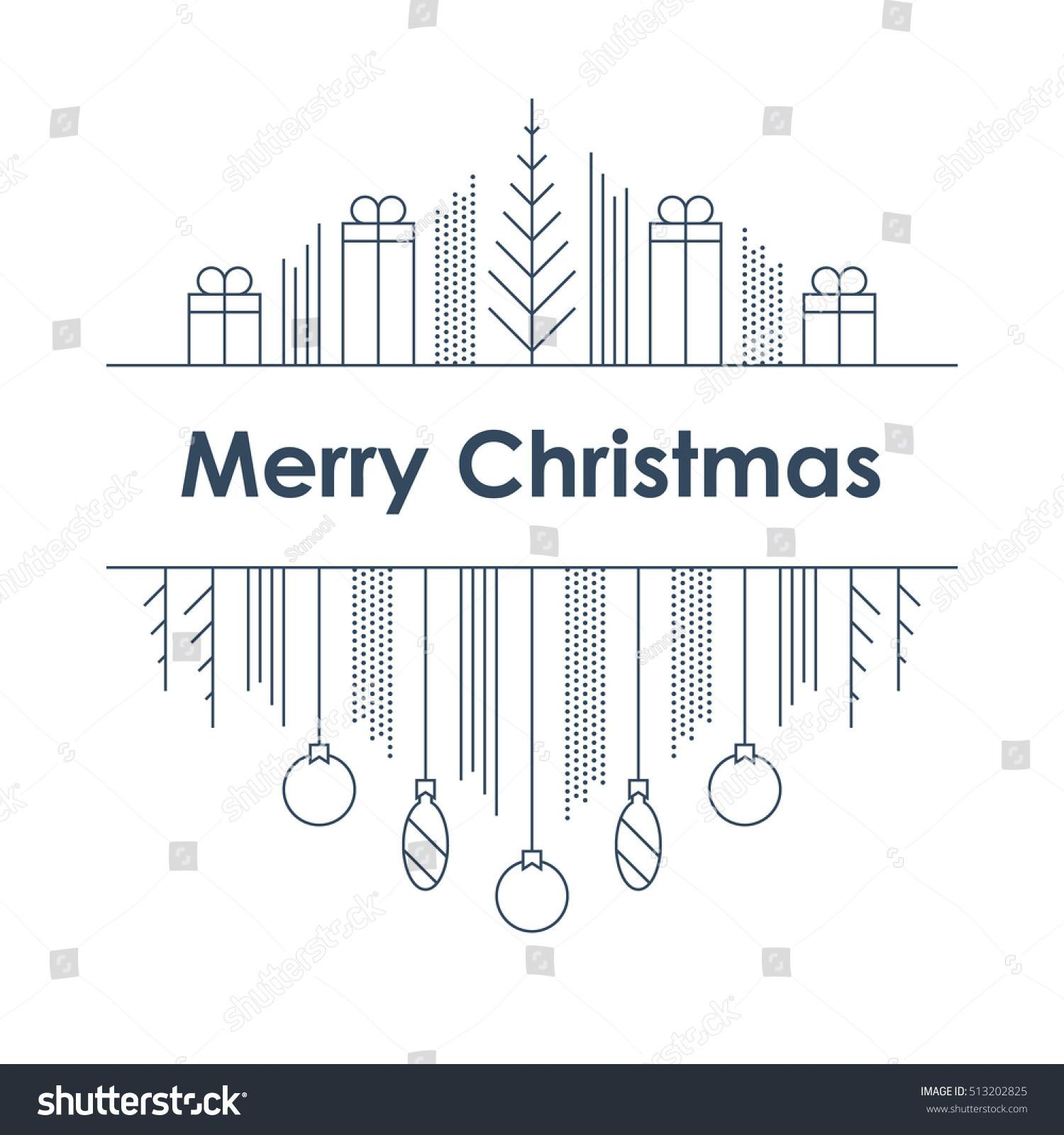 Happy New Year Merry Christmas Linear Stock Vector