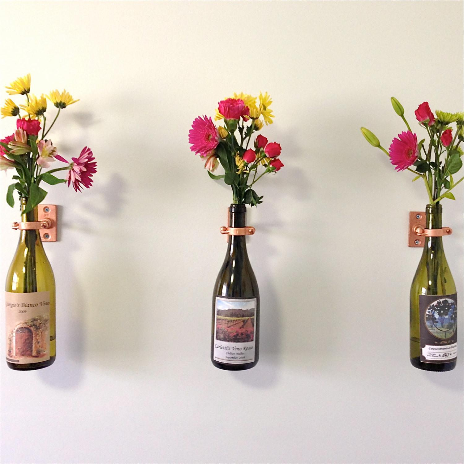 Hardware Only Wine Bottle Wall Flower Vase Kits Silver