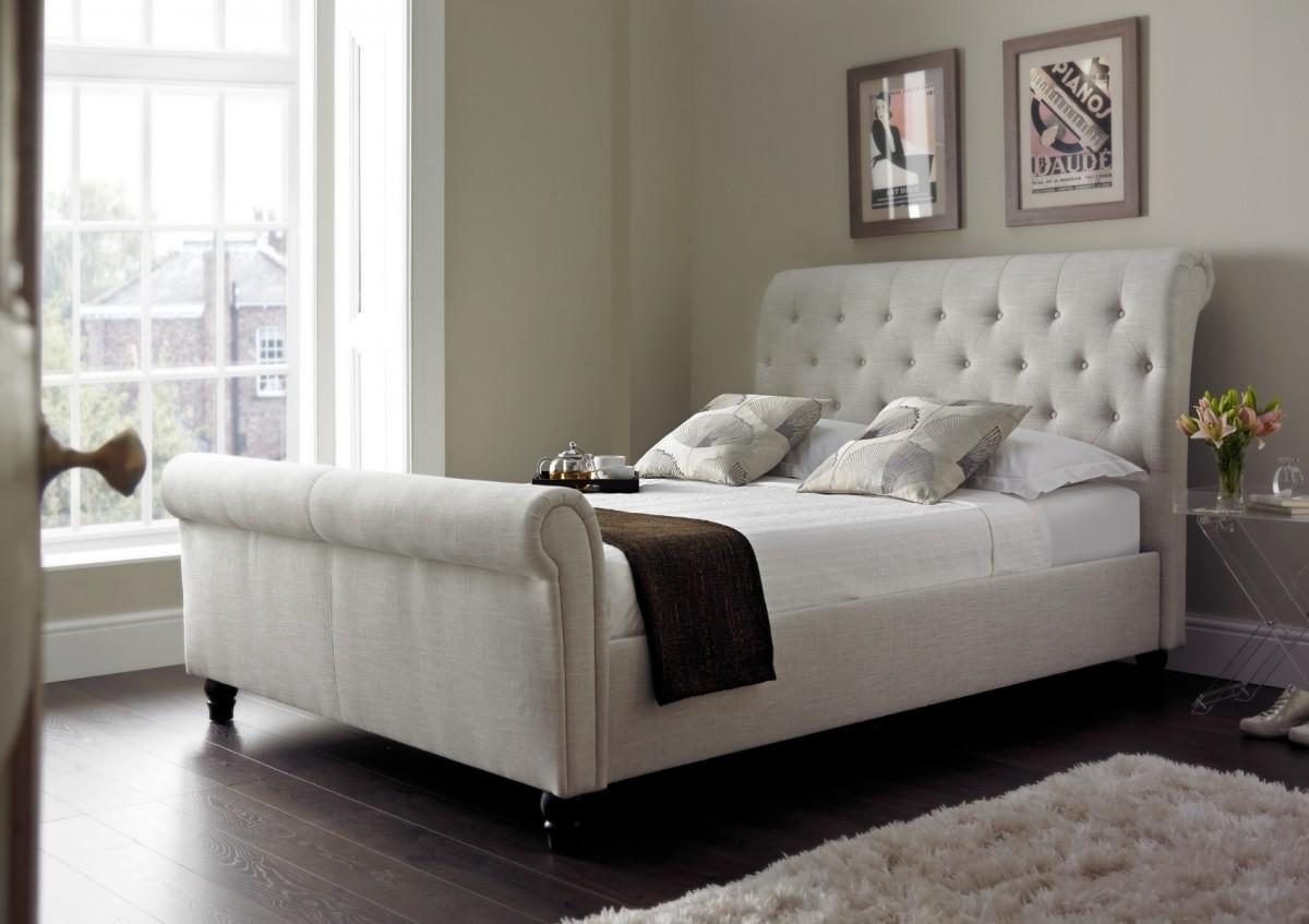 Harmony Upholstered Sleigh Bed Natural Timeless