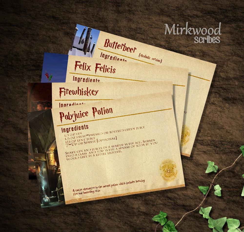 Harry Potter Recipe Cards Diy Printable Instant