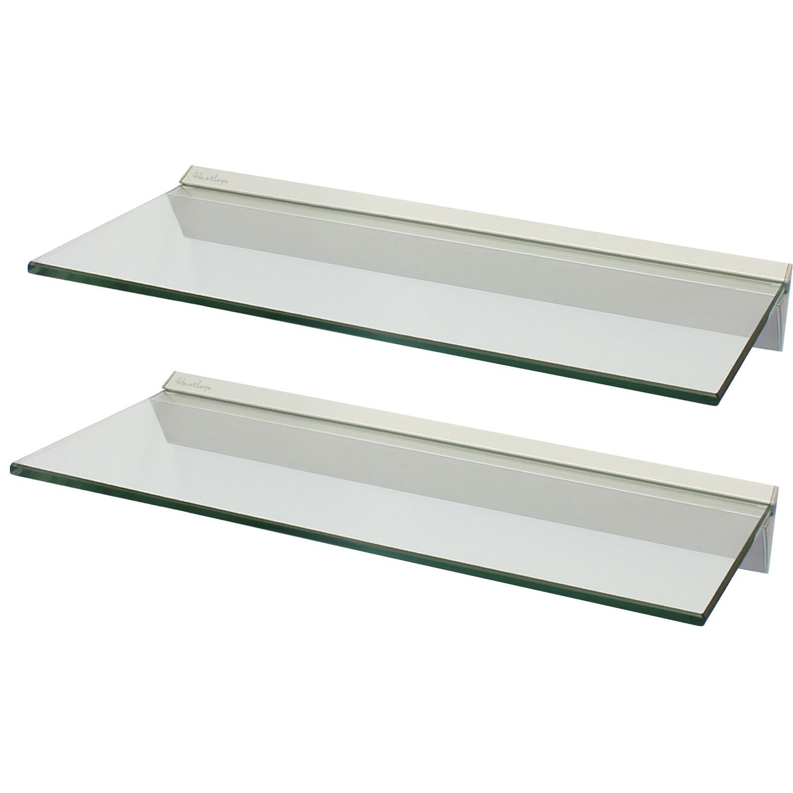 Hartleys Pair 60cm Clear Floating Glass Wall Shelves
